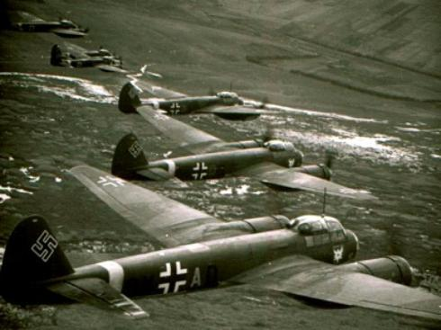 Flotilla of German bombers over Poland WW2
