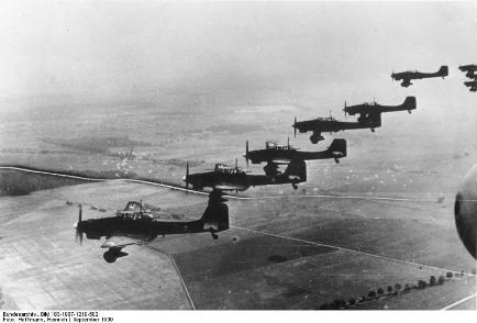 German Stukas invading Polish air space WW2