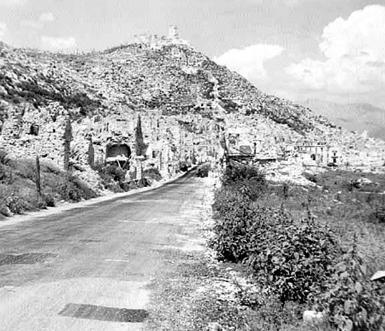 Road to Monte Cassino after bombing